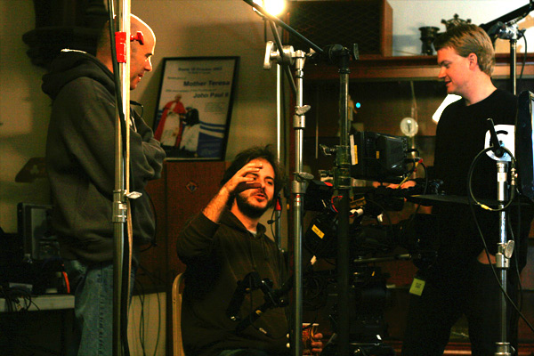 Director of Photography Ahmet Sesigürgil discusses scene with Third Camera Operator Matthew Bradbury (right) and Fourth Camera Operator / Gaffer Jeff Hoyt.