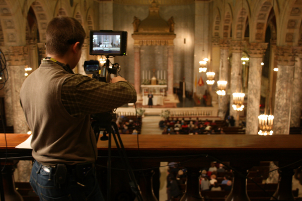 James Malloy operating balcony camera on Location 2 (The Basilica of the Immaculate Conception in Waterbury, CT).